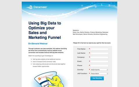 Screenshot of Landing Page datameer.com - Using Big Data to Optimize Your Sales and Marketing Funnel - captured March 17, 2016