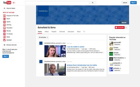 Screenshot of YouTube Page youtube.com - Schofield & Sims  - YouTube - captured Oct. 23, 2014