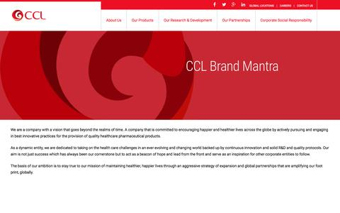 Screenshot of About Page cclpharma.com - About Us - CCL Pharmaceuticals - captured Oct. 5, 2016