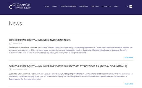 Screenshot of Press Page corecoholding.com - News | CoreCo Holdings - captured May 21, 2017