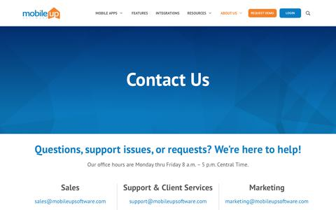 Screenshot of Support Page mobileupsoftware.com - Contact Information | MobileUp Software - captured Sept. 5, 2019
