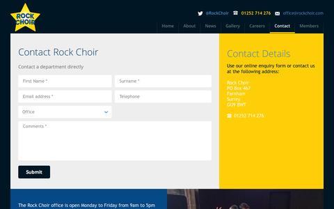 Screenshot of Contact Page rockchoir.com - Contact | Rock Choir - captured Oct. 26, 2014