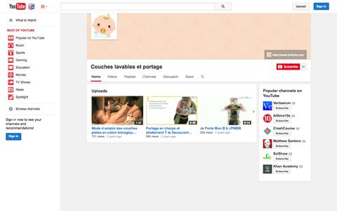 Screenshot of YouTube Page youtube.com - Couches lavables et portage  - YouTube - captured Nov. 4, 2014