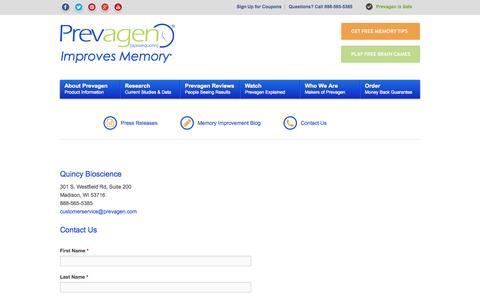 Screenshot of Contact Page prevagen.com - Contact - Prevagen - captured Sept. 22, 2014