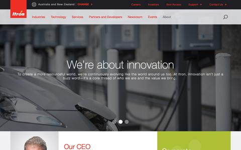 Screenshot of About Page itron.com - About - captured April 4, 2019