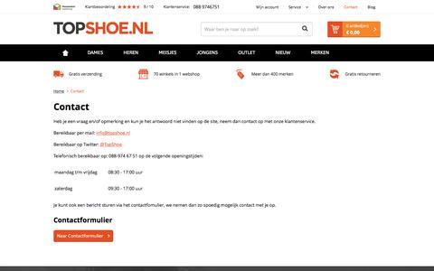 Screenshot of Contact Page topshoe.nl - Contact - TopShoe.nl - captured Nov. 28, 2016