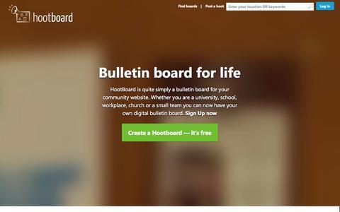Screenshot of Home Page hootboard.com - HootBoard   Home - captured Sept. 30, 2014
