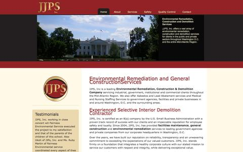 Screenshot of Home Page jjpsconstruction.com - JJPS  Environmental Remediation and General  ConstructionServices - captured Oct. 3, 2014