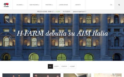 Screenshot of Home Page h-farmventures.com - H-FARM - captured Dec. 1, 2015