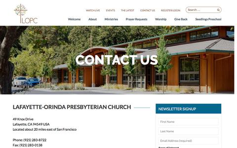 Screenshot of Contact Page lopc.org - Contact Us - Lafayette-Orinda Presbyterian Church | Lafayette-Orinda Presbyterian Church - captured Oct. 18, 2016