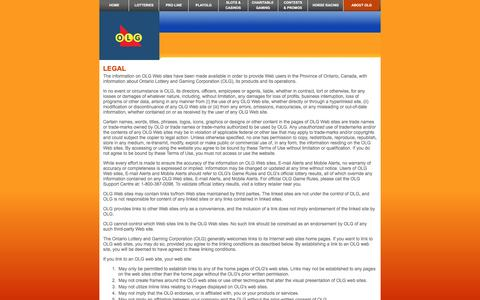 Screenshot of Terms Page olg.ca - Legal - O L G - captured Aug. 15, 2016