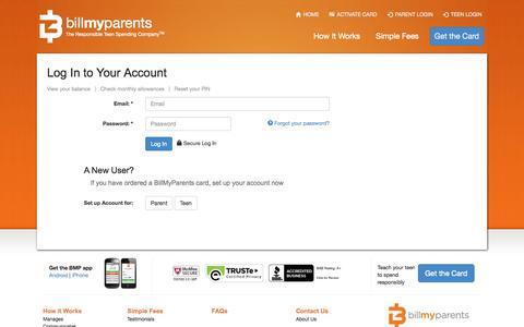 Screenshot of Login Page billmyparents.com - The BillMyParents Card - captured Sept. 13, 2014