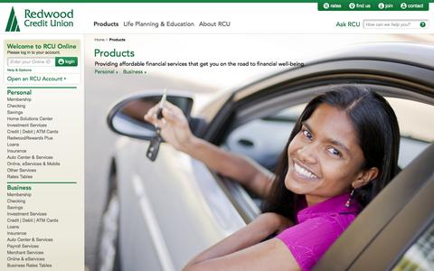 Screenshot of Products Page redwoodcu.org - Personal & Business Products | Membership | Checking | Savings - captured Nov. 2, 2014