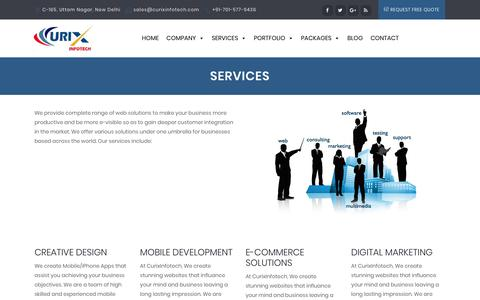 Screenshot of Services Page curixinfotech.com - Digital Marketing Services, Responsive Web Design & Web Development - captured Sept. 19, 2017
