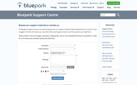 Screenshot of Support Page bluepark.co.uk - Support Centre - Bluepark.co.uk - captured Jan. 20, 2016