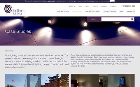 Screenshot of Case Studies Page brilliantlighting.co.uk - Case Studies | Brilliant Lighting - captured Oct. 5, 2014