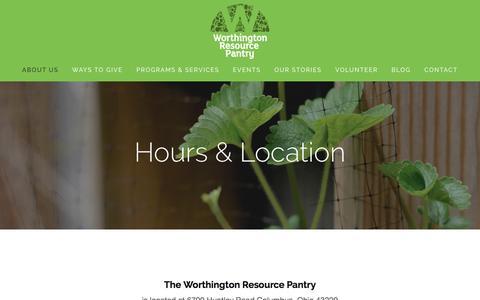 Screenshot of Hours Page worthingtonresourcepantry.org - Hours & Location — Worthington Resource Pantry - captured Nov. 5, 2016