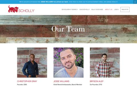 Screenshot of Team Page myscholly.com - Our Team — Scholly – Scholarship Search Tool and College Scholarship Finder App - captured Nov. 19, 2016