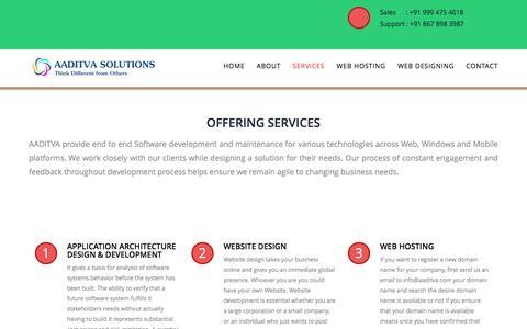 Screenshot of Services Page aaditva.com - Aaditva Solutions - captured Feb. 5, 2016