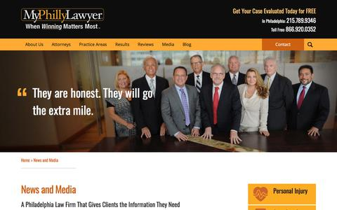 Screenshot of Press Page myphillylawyer.com - News and Media | MyPhillyLawyer - captured Nov. 4, 2017