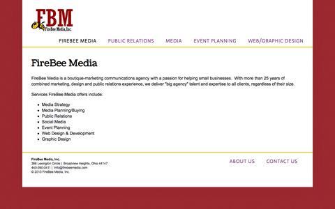 Screenshot of Home Page firebeemedia.com - Firebee Media, Inc. - captured Sept. 30, 2014