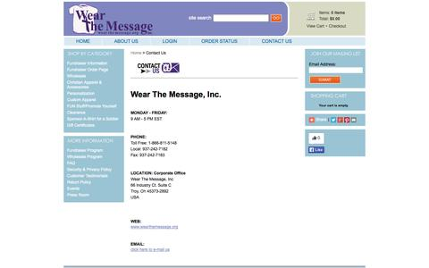 Screenshot of Contact Page wearthemessage.org - CHRISTIAN T-SHIRTS: WEAR THE MESSAGE - Contact Us - captured Oct. 7, 2014