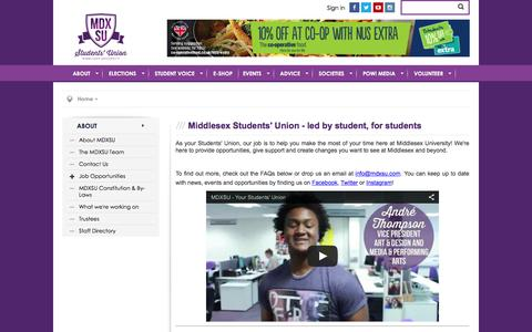 Screenshot of About Page mdxsu.com - About @ Middlesex University Students' Union - captured Feb. 13, 2016