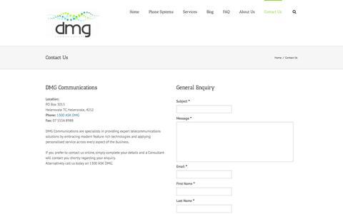 Screenshot of Contact Page dmgcommunications.com.au - DMG Communications – AVAYA – Telstra Business Partner   –  Contact Us - captured Sept. 30, 2014