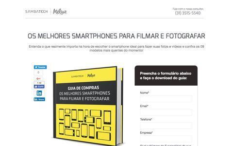 Screenshot of Landing Page sambatech.com - Os melhores Smartphones para filmar e fotografar - captured Aug. 19, 2016