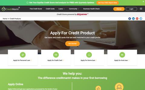 Screenshot of Products Page creditmantri.com - Credit products - Credit Cards, Personal loans, Home loans, Auto loans - captured Sept. 30, 2018