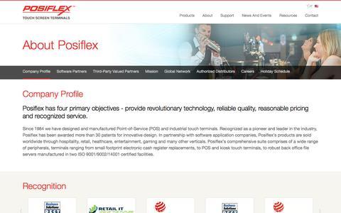 Screenshot of About Page posiflexusa.com - Posiflex USA | Company Profile - captured July 6, 2016