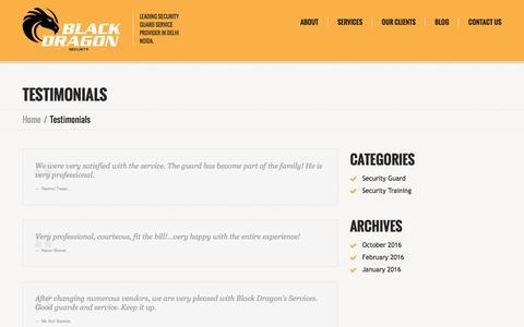Screenshot of Testimonials Page blackdragonsecurity.com - Testimonials - Black Dragon Security Pvt. Ltd. - captured Nov. 22, 2016