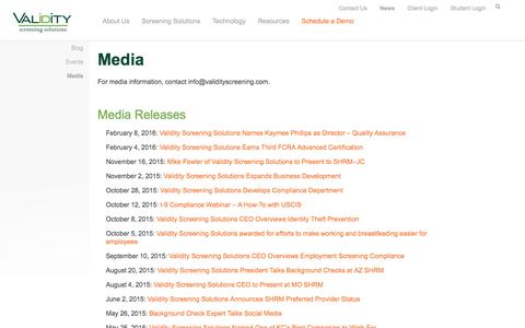 Screenshot of Press Page validityscreening.com - Media Archives - Validity Screening Solutions - captured Dec. 18, 2016