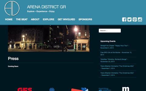 Screenshot of Press Page arenadistrictgr.com - Press | Arena District GR - captured Nov. 2, 2014