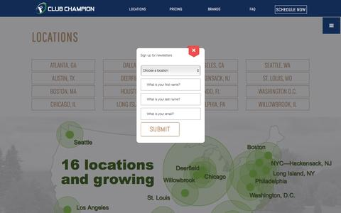 Screenshot of Locations Page clubchampiongolf.com - Locations - Club Champion Golf - captured Nov. 7, 2016