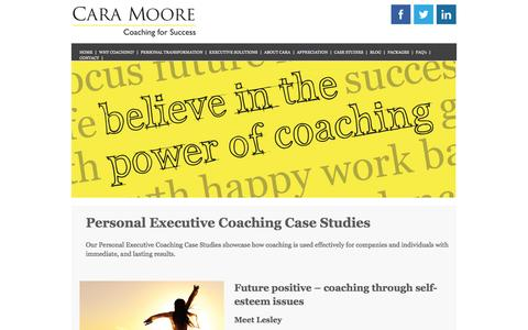 Screenshot of Case Studies Page caramoore.co.uk - Personal Executive Coaching Case StudiesCara Moore - captured Jan. 25, 2016