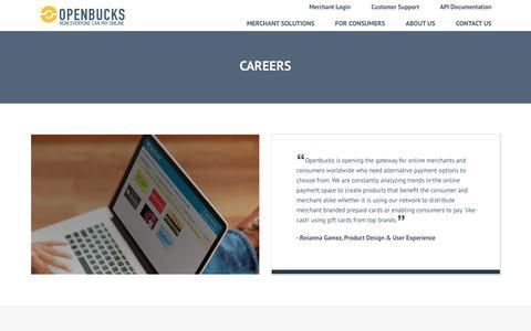 Screenshot of Jobs Page openbucks.com - Openbucks® - Careers - captured May 9, 2017