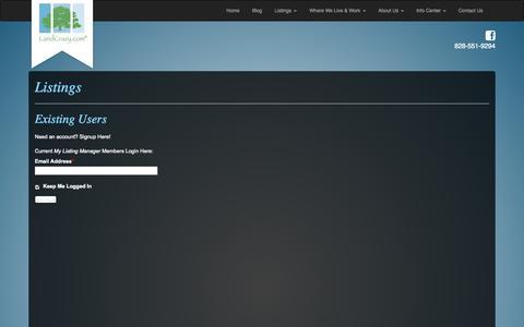 Screenshot of Login Page landcrazy.com - Western North Carolina Land for Sale Near Asheville   Land Crazy - captured Oct. 1, 2014