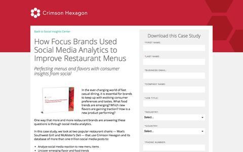 Screenshot of Landing Page crimsonhexagon.com - Social Media Analytics For Menu Planning | Focus Brands Case Study - captured March 15, 2017