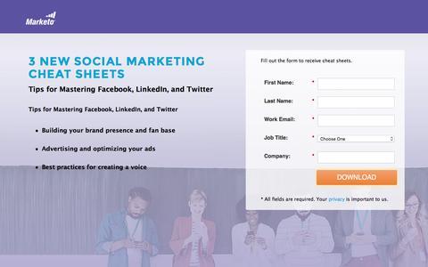 Screenshot of Landing Page marketo.com - Social Media Cheat Sheets - captured Aug. 24, 2016