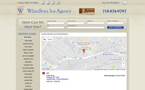 Screenshot of Locations Page winnsomins.com - WinnSom Insurance Agency Locations and Driving Directions - captured Oct. 21, 2017