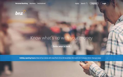 Screenshot of Home Page bnz.co.nz - Personal banking - BNZ - captured Dec. 28, 2015