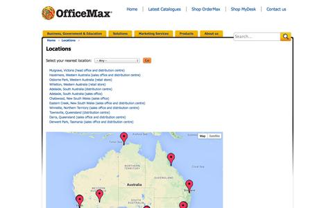 Screenshot of Locations Page officemax.com.au - Locations | Officemax - captured Oct. 27, 2014