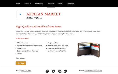 Screenshot of Products Page afrikanmarket.com - Products - AFRICAN MARKET in Christiansted, USVI - captured Oct. 7, 2017
