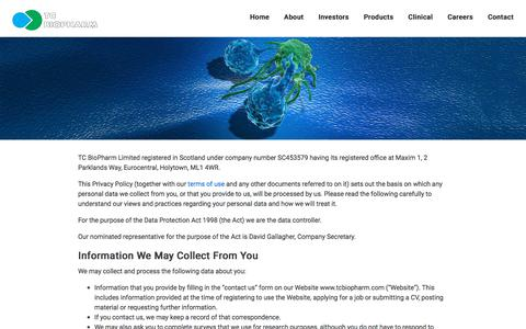 Screenshot of Privacy Page tcbiopharm.com - Privacy and Cookies Policy – TC BioPharm - captured Nov. 16, 2017