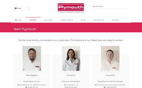 Screenshot of Team Page plymouthrubber.com - Team Plymouth – Plymouth Rubber Europa S.A. - captured Jan. 29, 2016