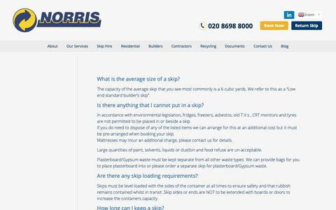 Screenshot of FAQ Page norriskips.co.uk - FAQs About Waste Management | Norris Waste Management - captured Oct. 18, 2018