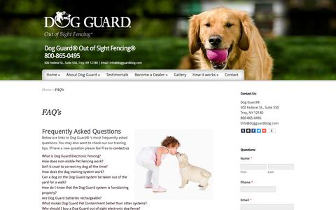 Screenshot of FAQ Page dogguardblog.com - Dog Guard   Underground Dog Fencing   Wireless Dog Fence   Pet Containment Fencing   Out of Sight Fences   Dog Guard Blog - captured March 26, 2016