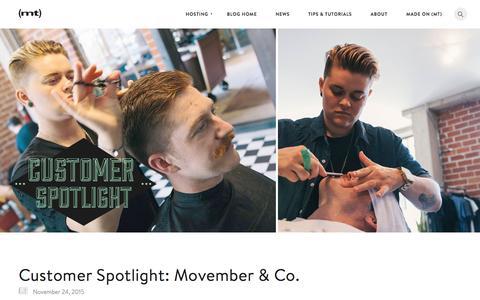 Screenshot of Blog mediatemple.net - Customer Spotlight: Movember & Co. - The Media Temple Blog - captured Nov. 26, 2015