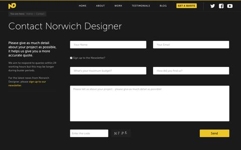 Screenshot of Contact Page norwichdesigner.com - Norwich Designer  Contact - Norwich Designer - captured Jan. 15, 2017